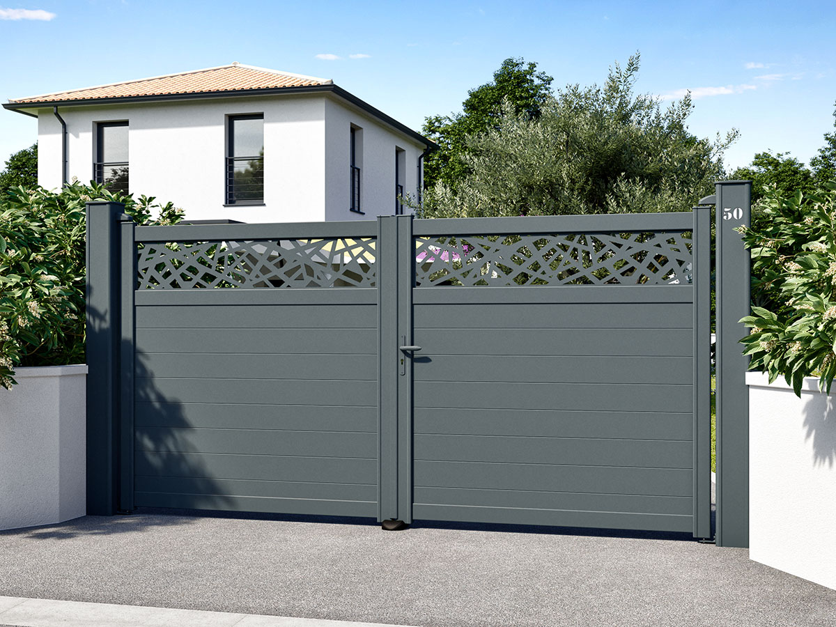Portail aluminium Pigamon Côté portail