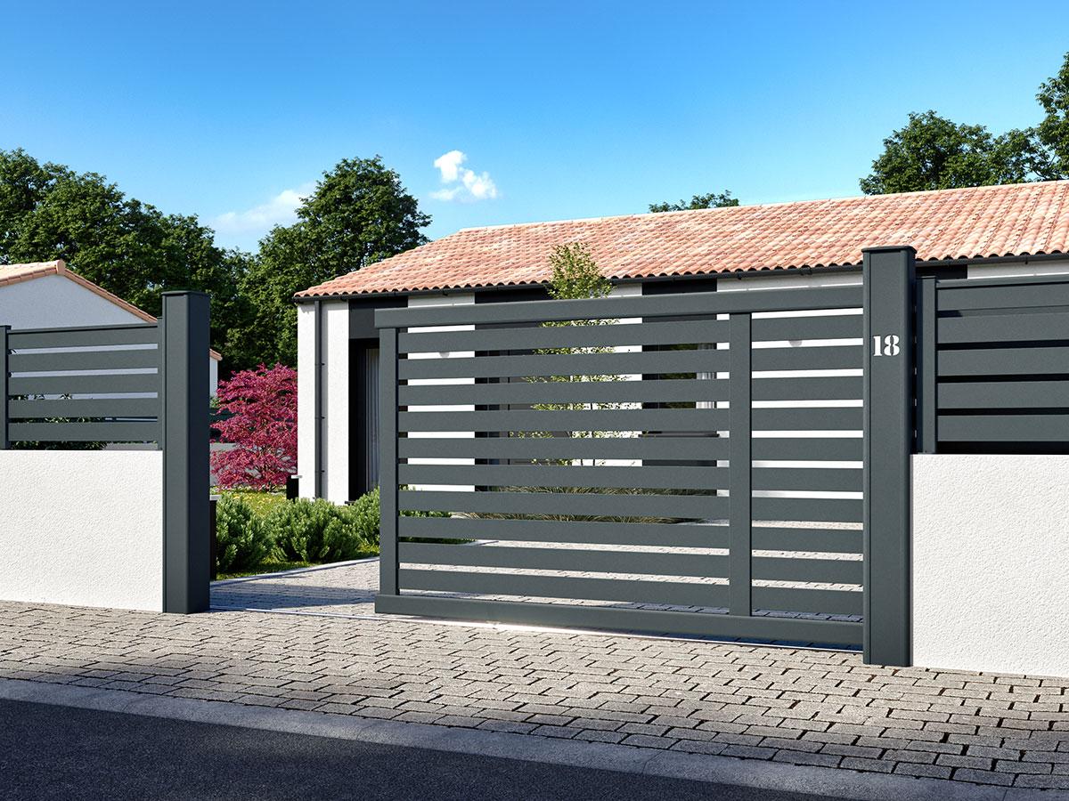 Portail aluminium Salak de côté portail